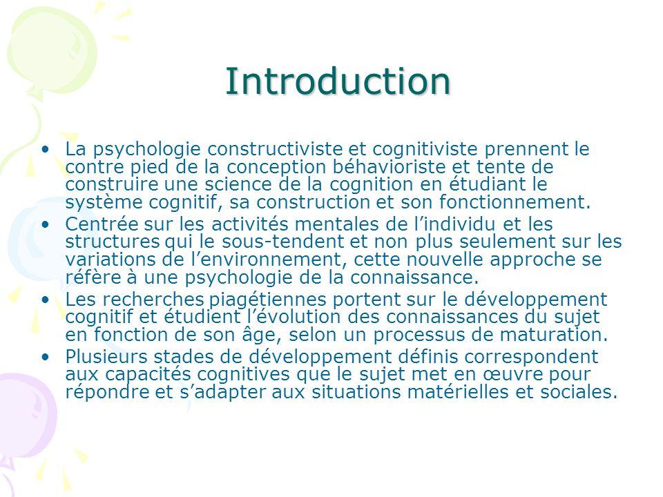 Introduction Introduction La psychologie constructiviste et cognitiviste prennent le contre pied de la conception béhavioriste et tente de construire
