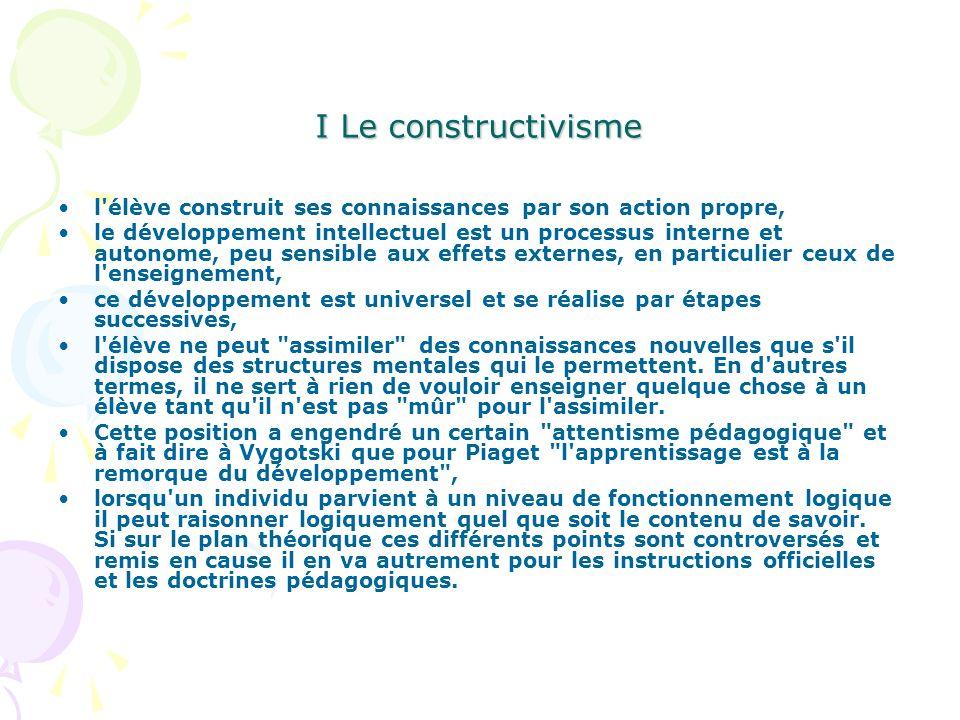I Le constructivisme l'élève construit ses connaissances par son action propre, le développement intellectuel est un processus interne et autonome, pe