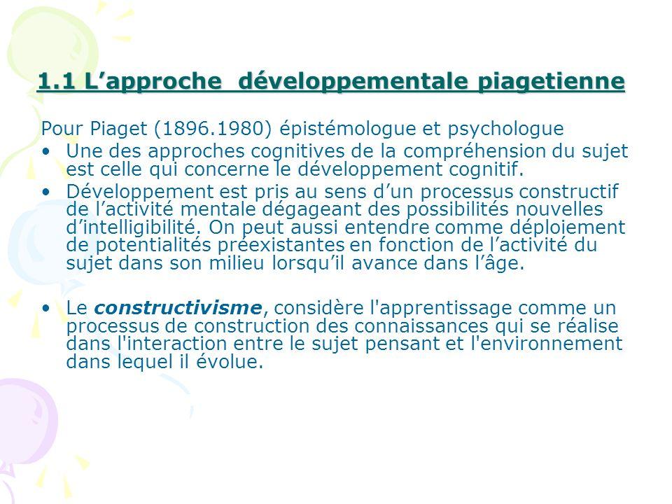 1.1 Lapproche développementale piagetienne Pour Piaget (1896.1980) épistémologue et psychologue Une des approches cognitives de la compréhension du su