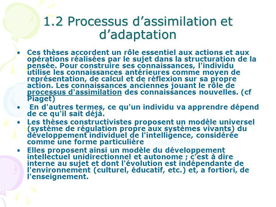 1.2 Processus dassimilation et dadaptation Ces thèses accordent un rôle essentiel aux actions et aux opérations réalisées par le sujet dans la structu