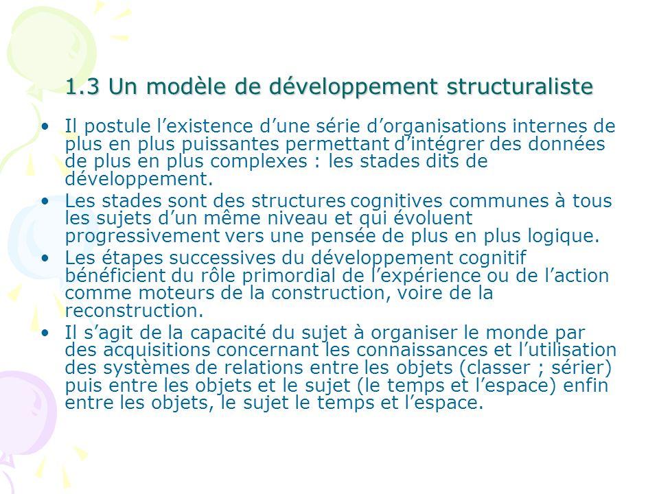 1.3 Un modèle de développement structuraliste Il postule lexistence dune série dorganisations internes de plus en plus puissantes permettant dintégrer