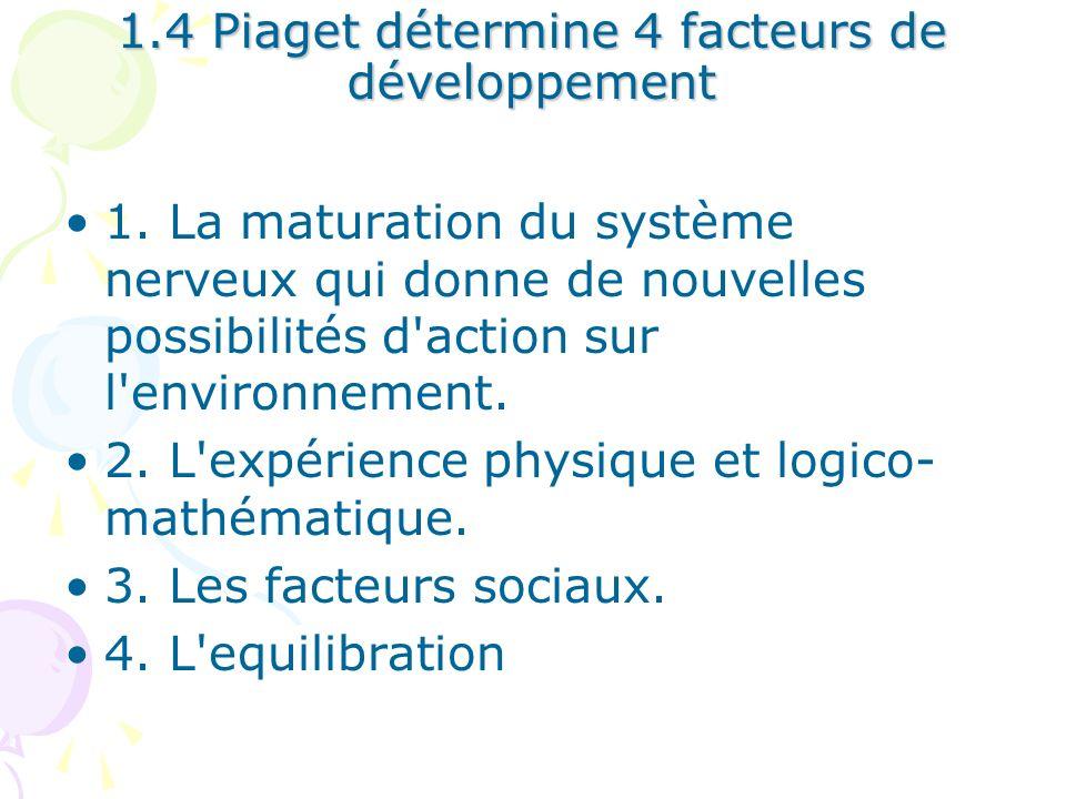1.4 Piaget détermine 4 facteurs de développement 1. La maturation du système nerveux qui donne de nouvelles possibilités d'action sur l'environnement.