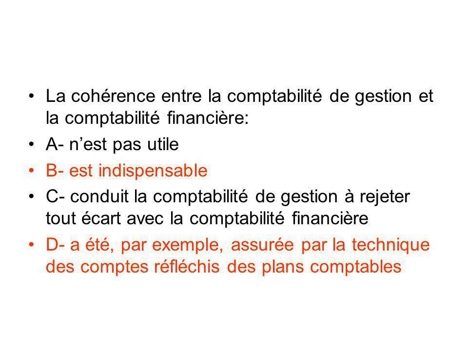 La cohérence entre la comptabilité de gestion et la comptabilité financière: A- nest pas utile B- est indispensable C- conduit la comptabilité de gest