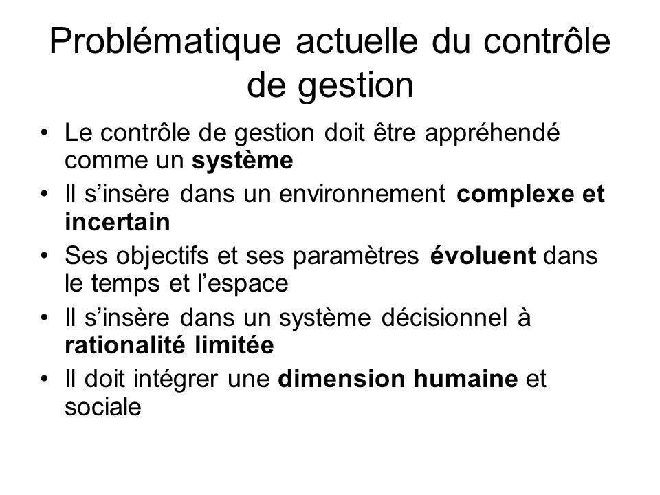 Problématique actuelle du contrôle de gestion Le contrôle de gestion doit être appréhendé comme un système Il sinsère dans un environnement complexe e