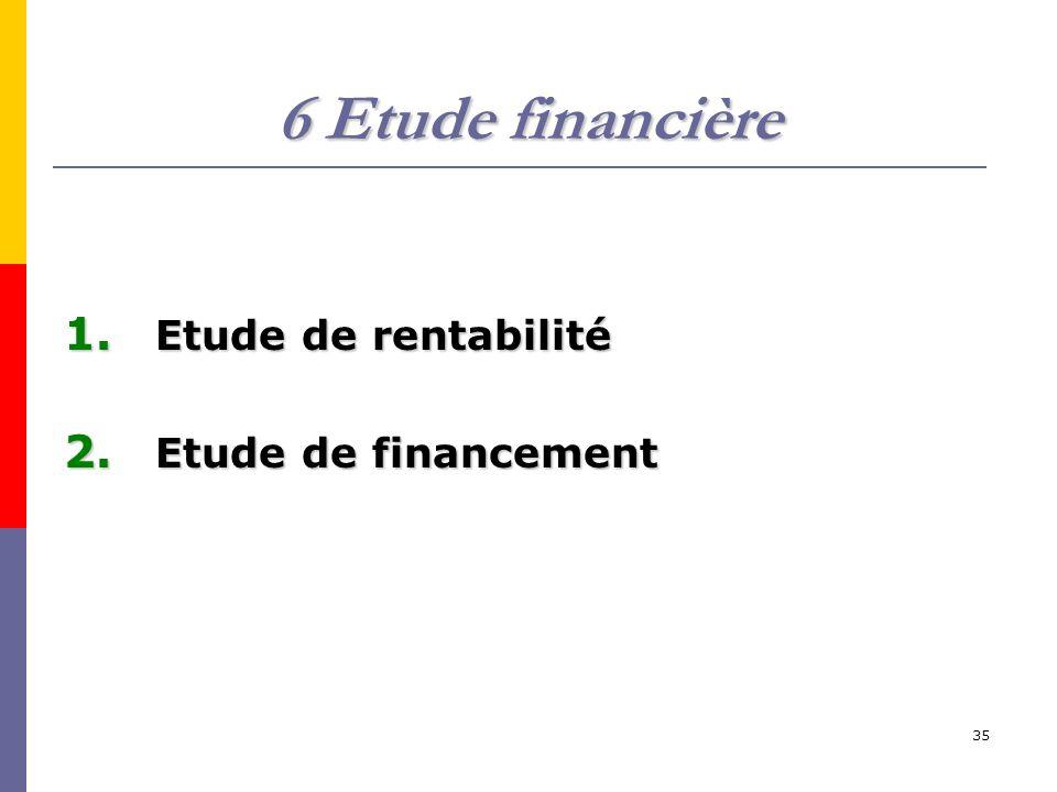 35 6 Etude financière 1. Etude de rentabilité 2. Etude de financement