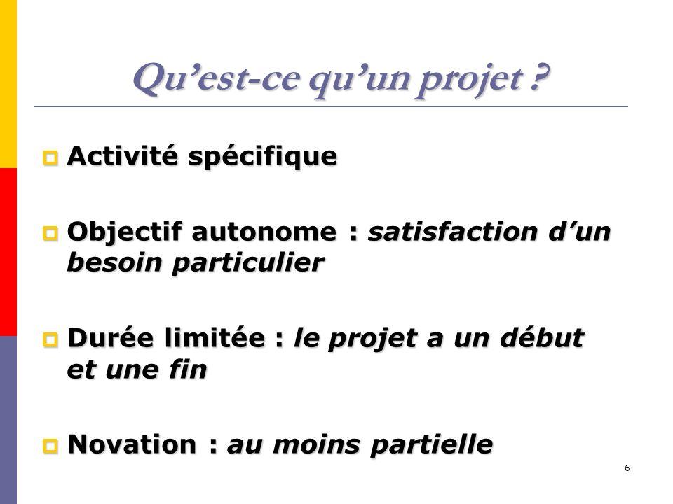 6 Quest-ce quun projet ? Activité spécifique Activité spécifique Objectif autonome : satisfaction dun besoin particulier Objectif autonome : satisfact