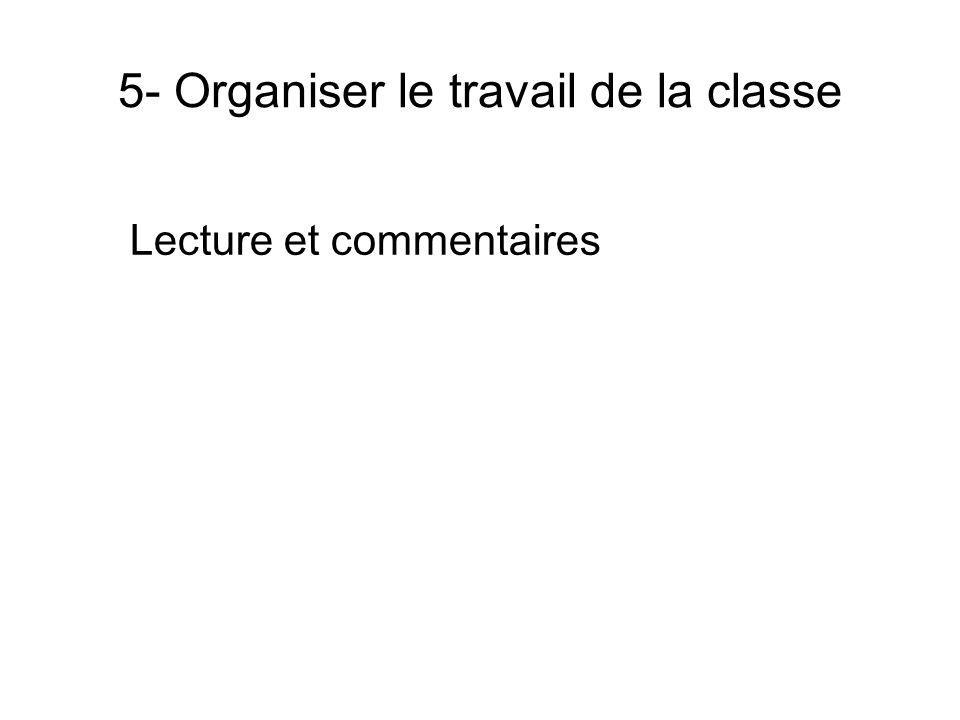 5- Organiser le travail de la classe Lecture et commentaires