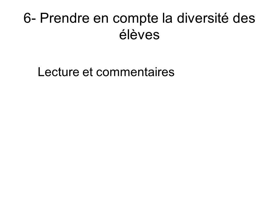 6- Prendre en compte la diversité des élèves Lecture et commentaires