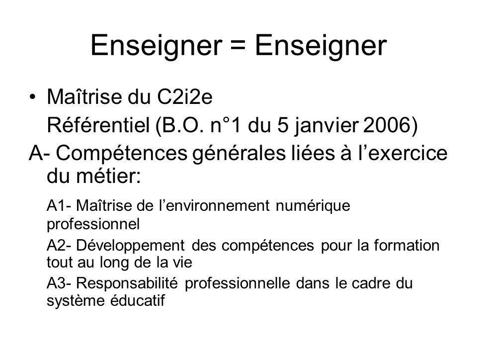 Enseigner = Enseigner Maîtrise du C2i2e Référentiel (B.O. n°1 du 5 janvier 2006) A- Compétences générales liées à lexercice du métier: A1- Maîtrise de