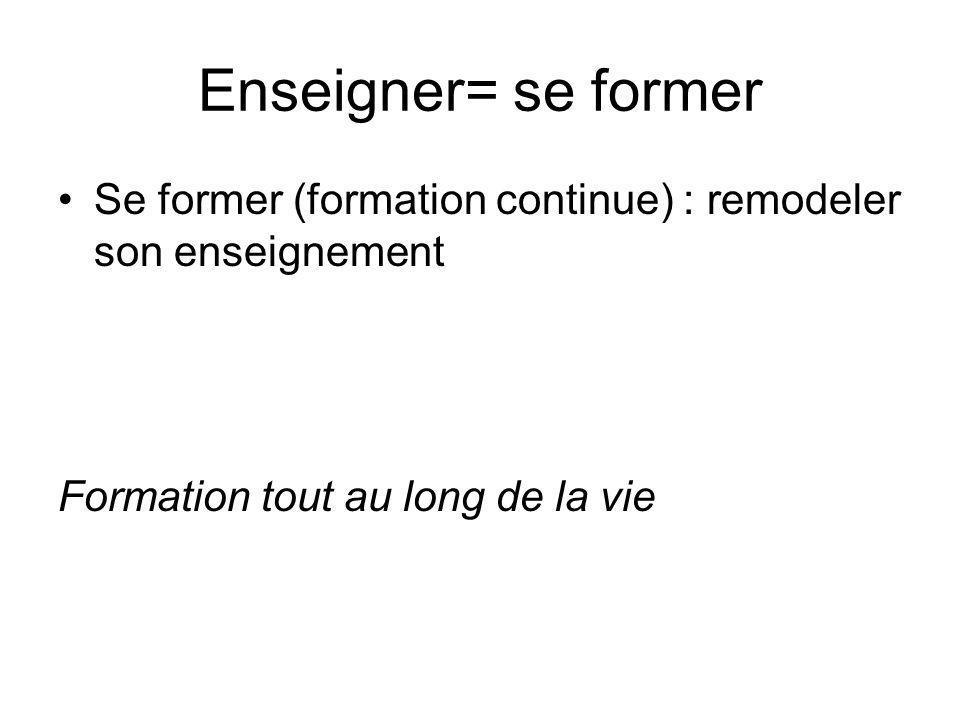 Enseigner= se former Se former (formation continue) : remodeler son enseignement Formation tout au long de la vie