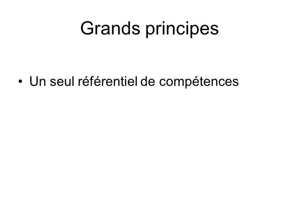 Grands principes Un seul référentiel de compétences
