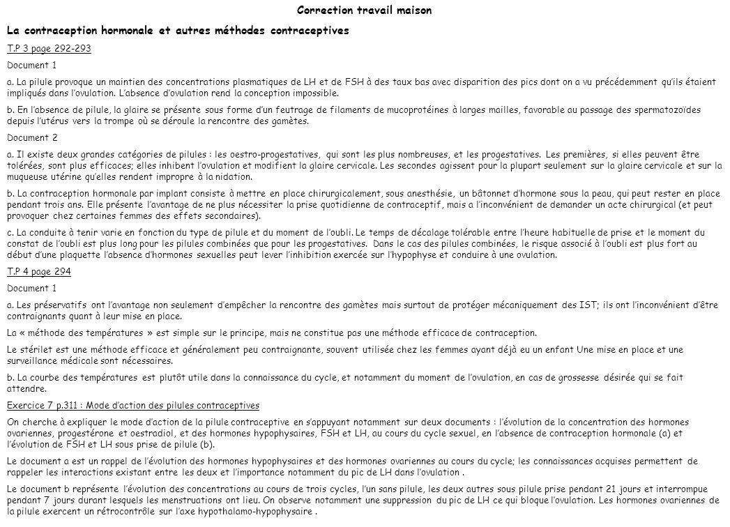 Correction travail maison La contraception hormonale et autres méthodes contraceptives T.P 3 page 292-293 Document 1 a. La pilule provoque un maintien