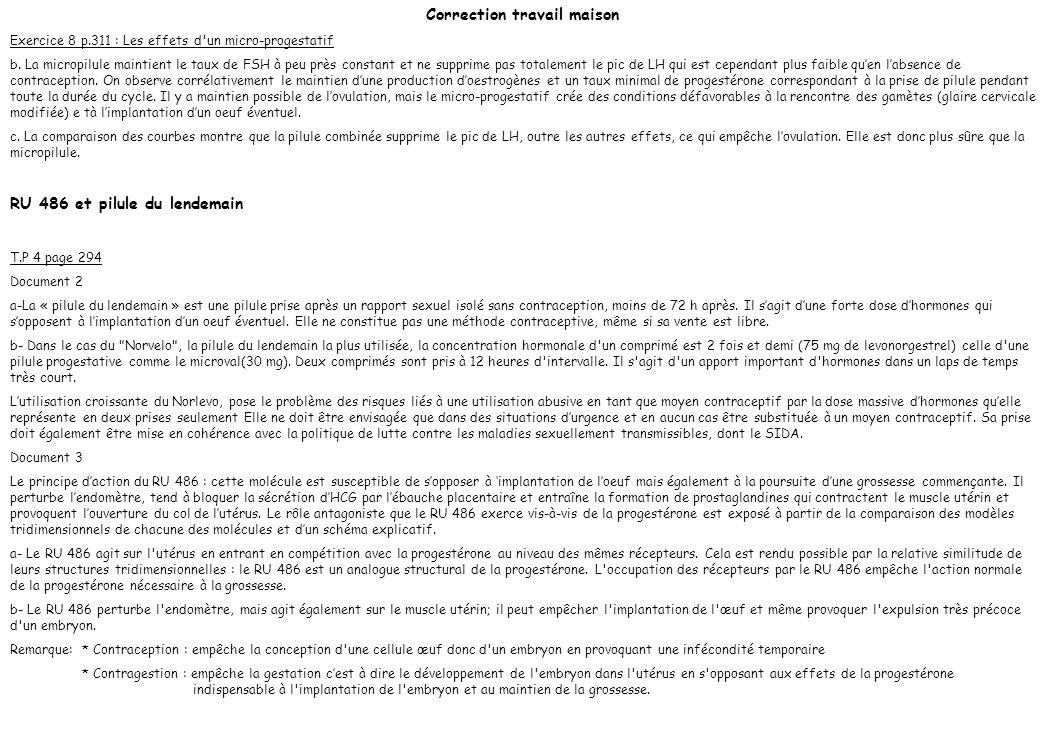 Correction travail maison Exercice 8 p.311 : Les effets d'un micro-progestatif b. La micropilule maintient le taux de FSH à peu près constant et ne su
