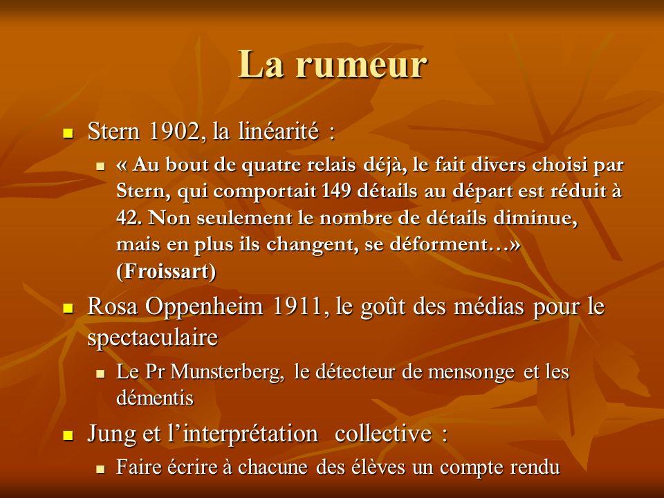 La rumeur Stern 1902, la linéarité : Stern 1902, la linéarité : « Au bout de quatre relais déjà, le fait divers choisi par Stern, qui comportait 149 détails au départ est réduit à 42.