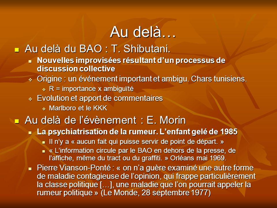 Au delà… Au delà du BAO : T.Shibutani. Au delà du BAO : T.