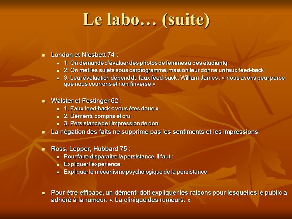 Le labo… (suite) London et Niesbett 74 : London et Niesbett 74 : 1.