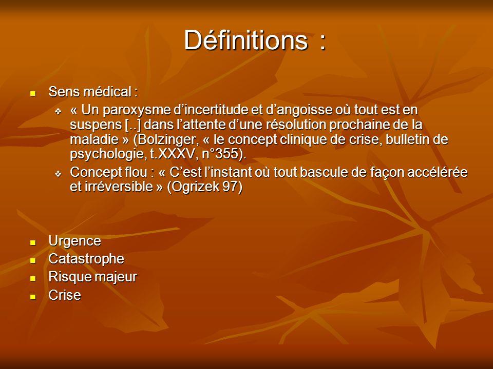 Définitions : Sens médical : Sens médical : « Un paroxysme dincertitude et dangoisse où tout est en suspens [..] dans lattente dune résolution prochaine de la maladie » (Bolzinger, « le concept clinique de crise, bulletin de psychologie, t.XXXV, n°355).