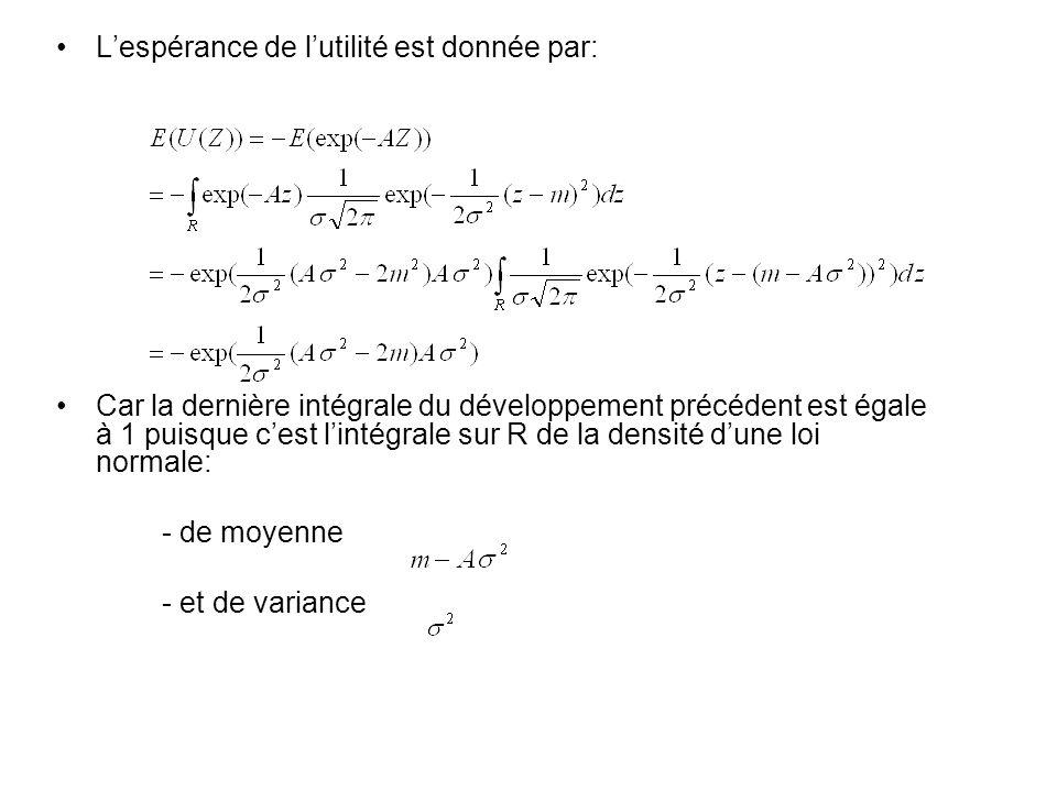 Lespérance de lutilité est donnée par: Car la dernière intégrale du développement précédent est égale à 1 puisque cest lintégrale sur R de la densité