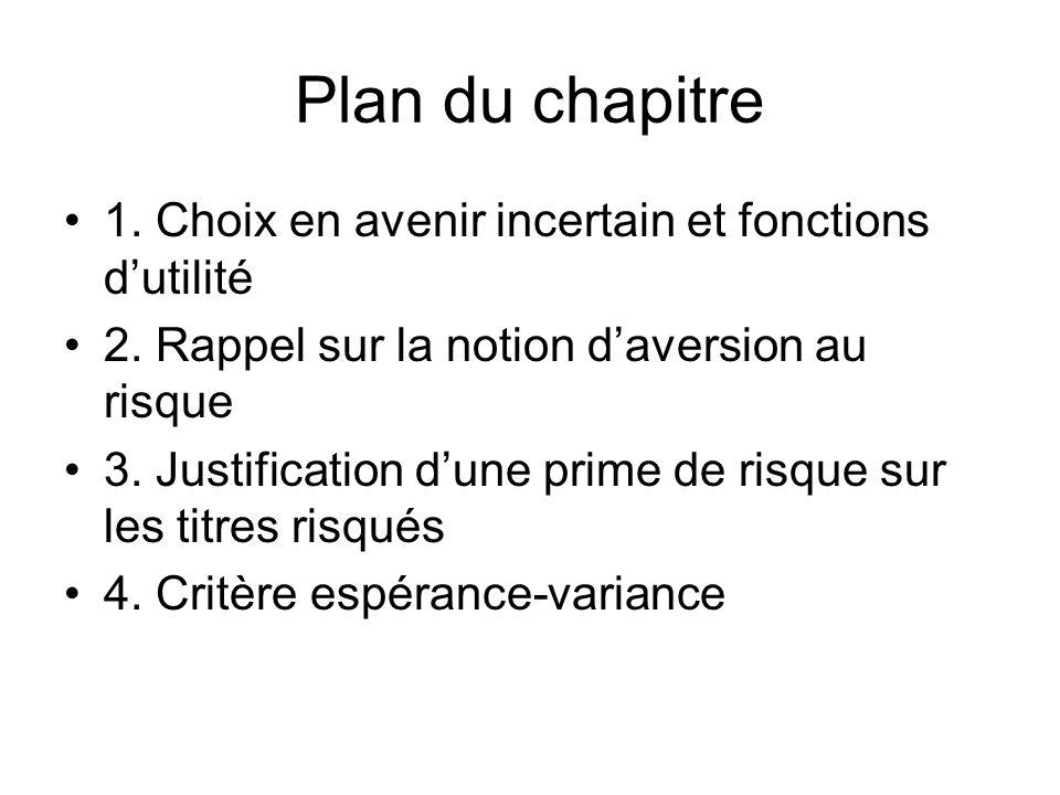 Plan du chapitre 1. Choix en avenir incertain et fonctions dutilité 2. Rappel sur la notion daversion au risque 3. Justification dune prime de risque