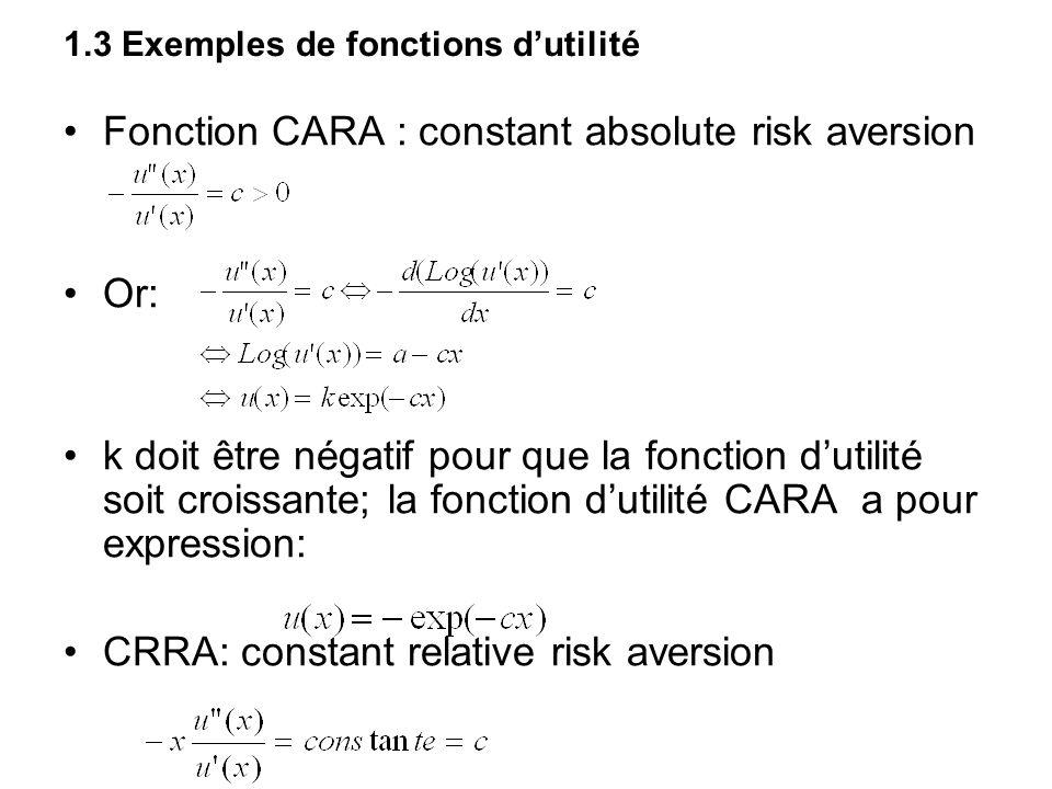 1.3 Exemples de fonctions dutilité Fonction CARA : constant absolute risk aversion Or: k doit être négatif pour que la fonction dutilité soit croissan
