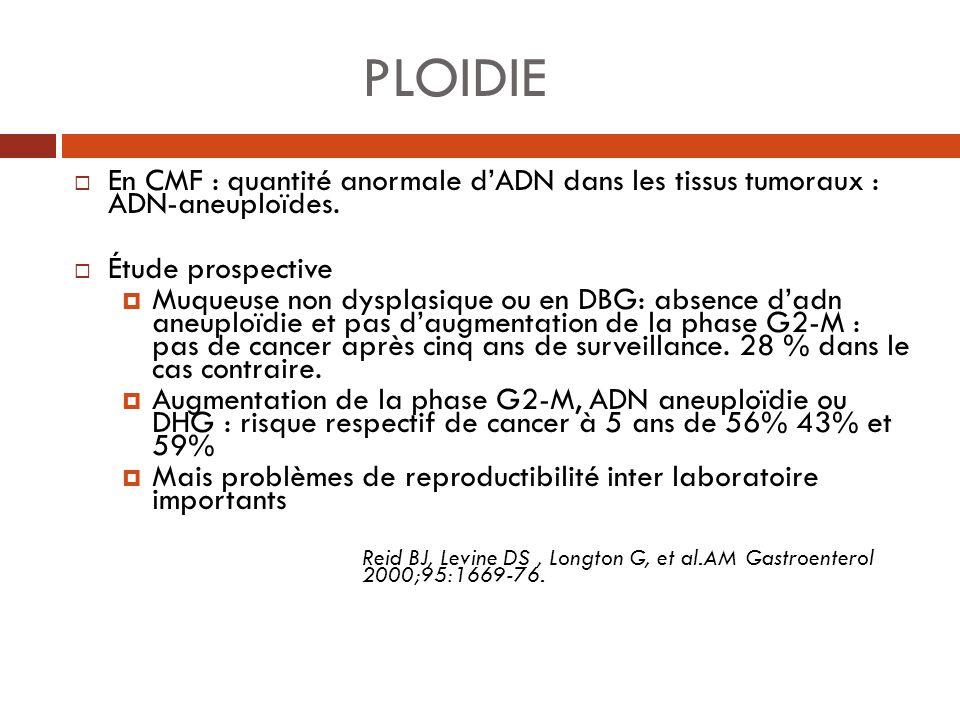 PLOIDIE En CMF : quantité anormale dADN dans les tissus tumoraux : ADN-aneuploïdes. Étude prospective Muqueuse non dysplasique ou en DBG: absence dadn