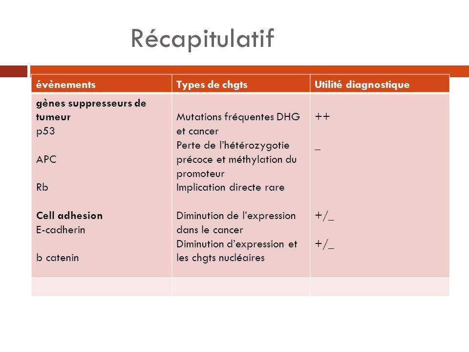 Récapitulatif évènementsTypes de chgtsUtilité diagnostique gènes suppresseurs de tumeur p53 APC Rb Cell adhesion E-cadherin b catenin Mutations fréque