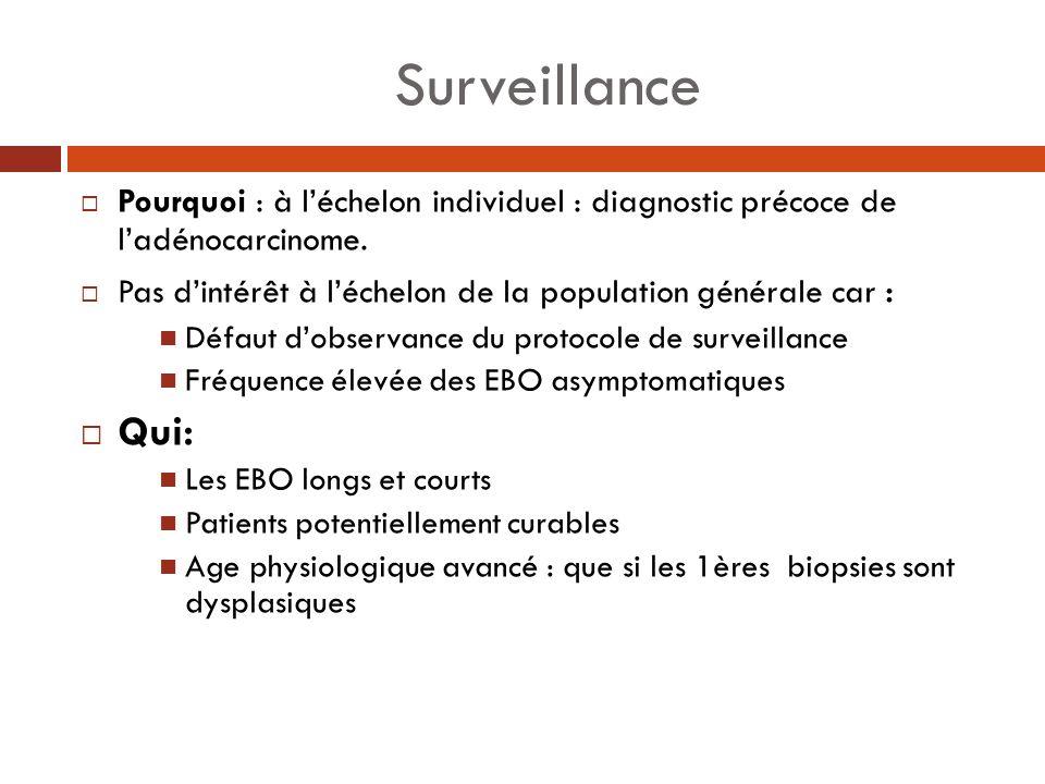Surveillance Pourquoi : à léchelon individuel : diagnostic précoce de ladénocarcinome. Pas dintérêt à léchelon de la population générale car : Défaut