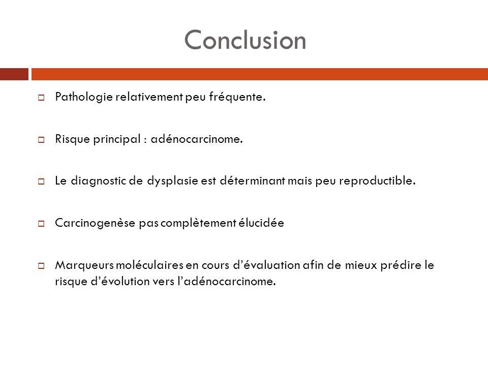 Conclusion Pathologie relativement peu fréquente. Risque principal : adénocarcinome. Le diagnostic de dysplasie est déterminant mais peu reproductible