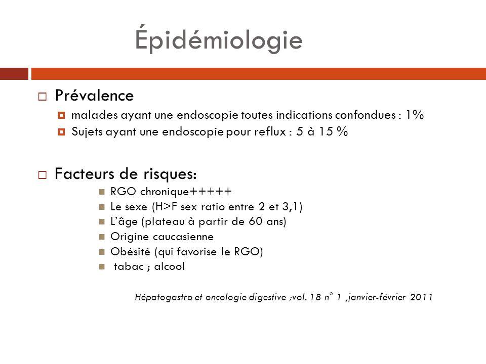 Épidémiologie Prévalence malades ayant une endoscopie toutes indications confondues : 1% Sujets ayant une endoscopie pour reflux : 5 à 15 % Facteurs d