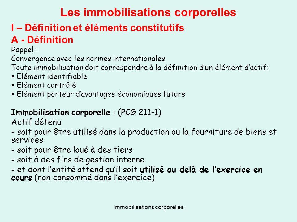 Immobilisations corporelles Les immobilisations corporelles I – Définition et éléments constitutifs A - Définition Rappel : Convergence avec les norme