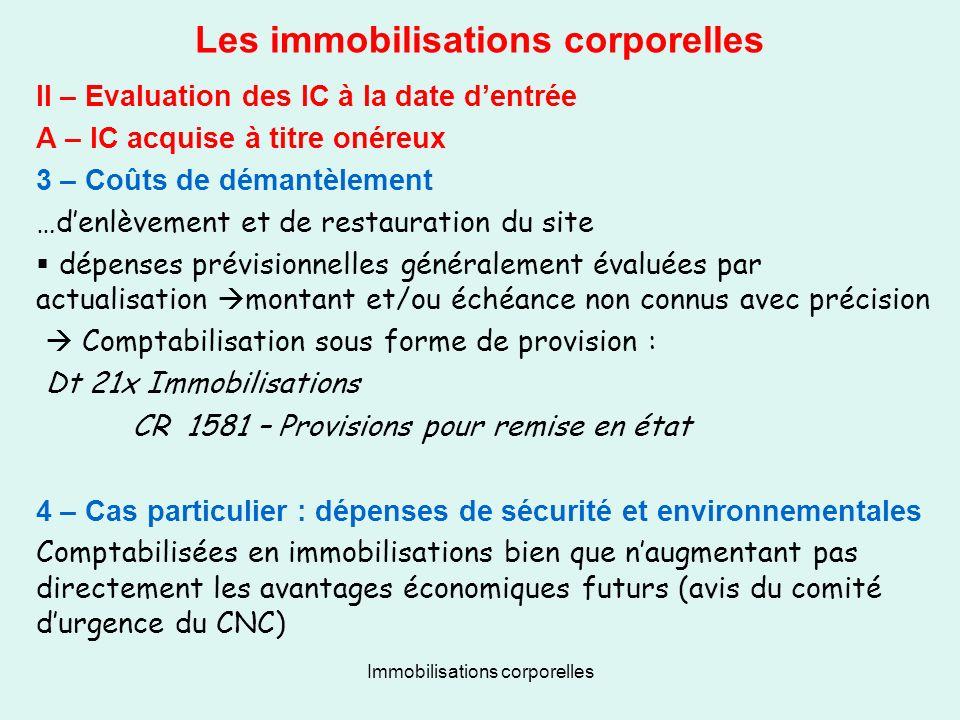 Immobilisations corporelles Les immobilisations corporelles II – Evaluation des IC à la date dentrée A – IC acquise à titre onéreux 3 – Coûts de déman