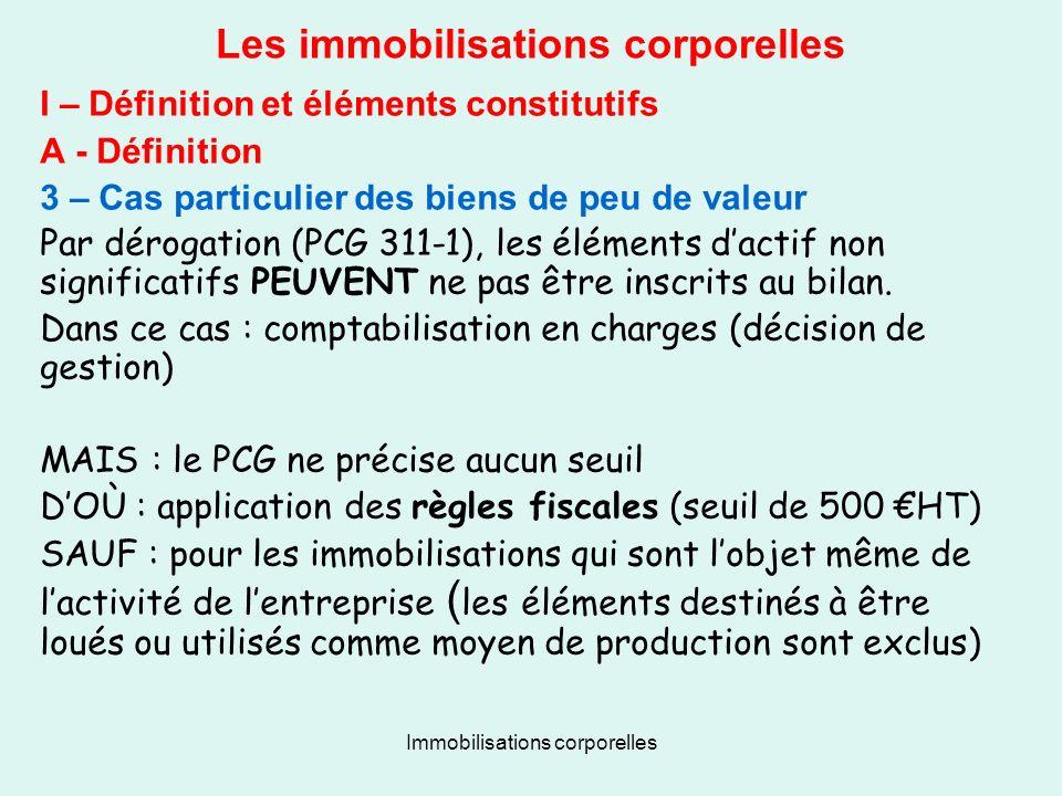 Immobilisations corporelles Les immobilisations corporelles I – Définition et éléments constitutifs A - Définition 3 – Cas particulier des biens de pe