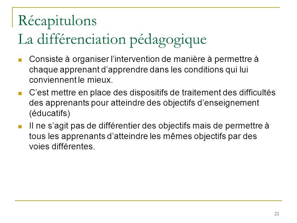 21 Récapitulons La différenciation pédagogique Consiste à organiser lintervention de manière à permettre à chaque apprenant dapprendre dans les condit