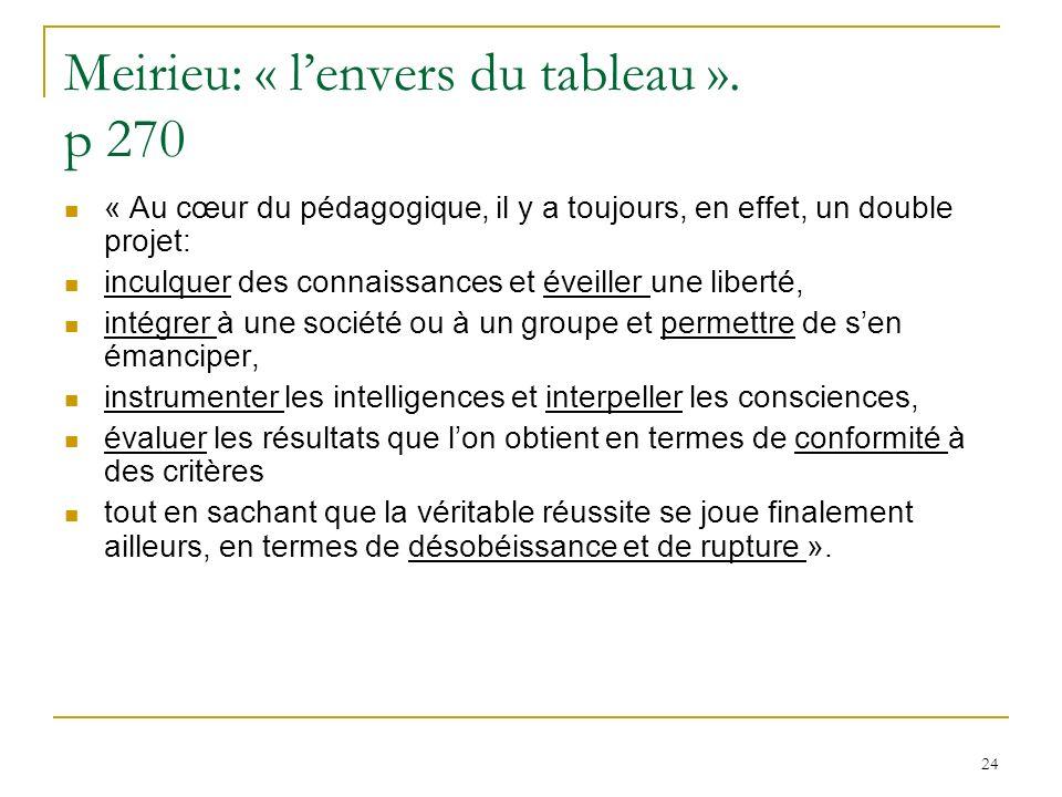 24 Meirieu: « lenvers du tableau ». p 270 « Au cœur du pédagogique, il y a toujours, en effet, un double projet: inculquer des connaissances et éveill