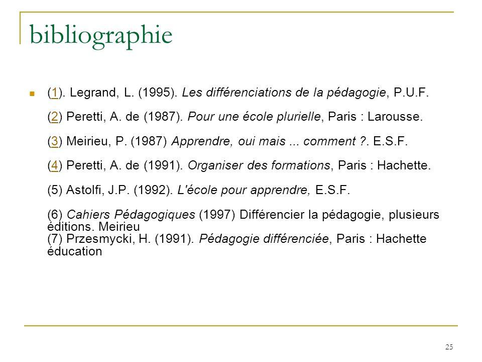 25 bibliographie (1). Legrand, L. (1995). Les différenciations de la pédagogie, P.U.F. (2) Peretti, A. de (1987). Pour une école plurielle, Paris : La