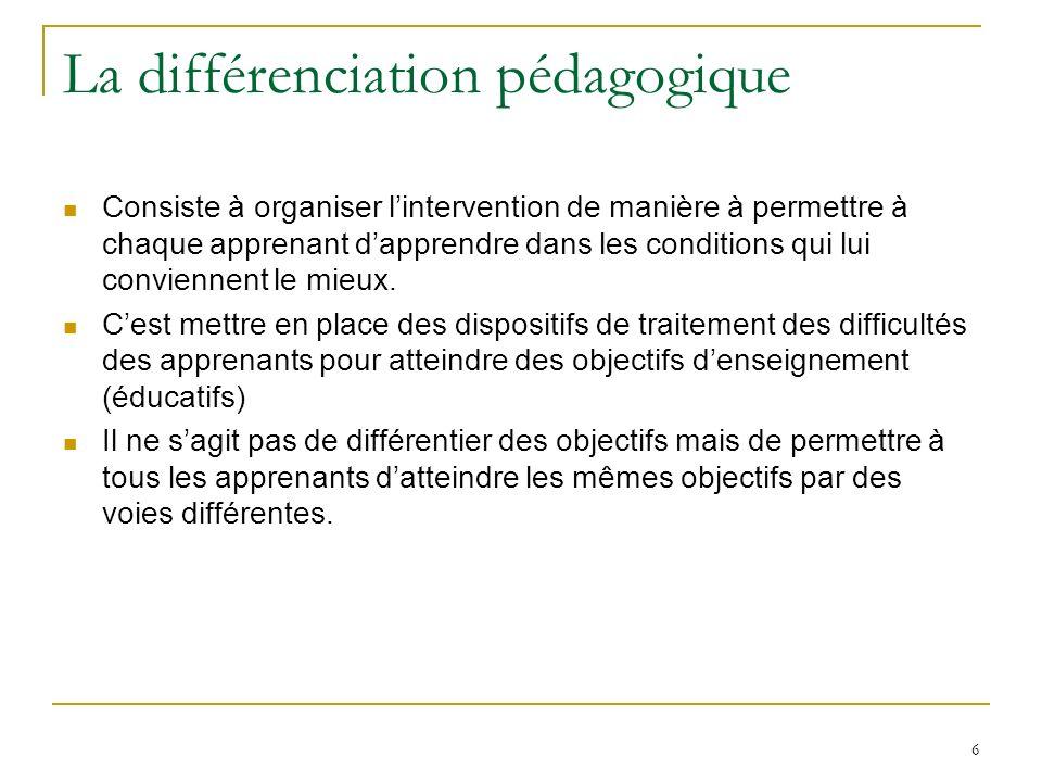 6 La différenciation pédagogique Consiste à organiser lintervention de manière à permettre à chaque apprenant dapprendre dans les conditions qui lui c