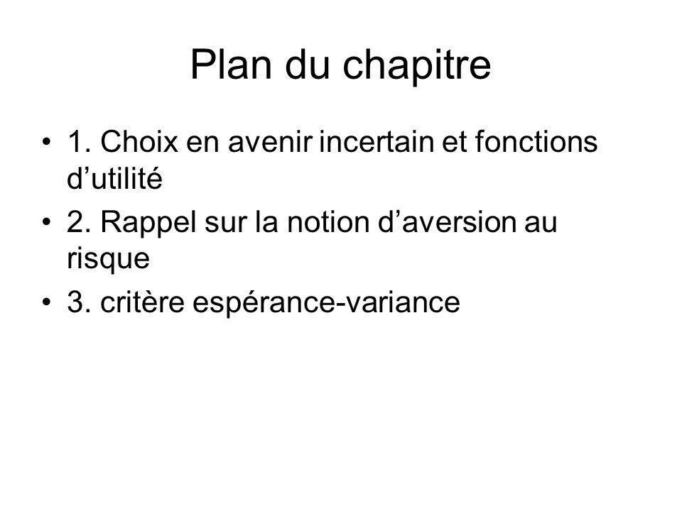 Plan du chapitre 1. Choix en avenir incertain et fonctions dutilité 2. Rappel sur la notion daversion au risque 3. critère espérance-variance