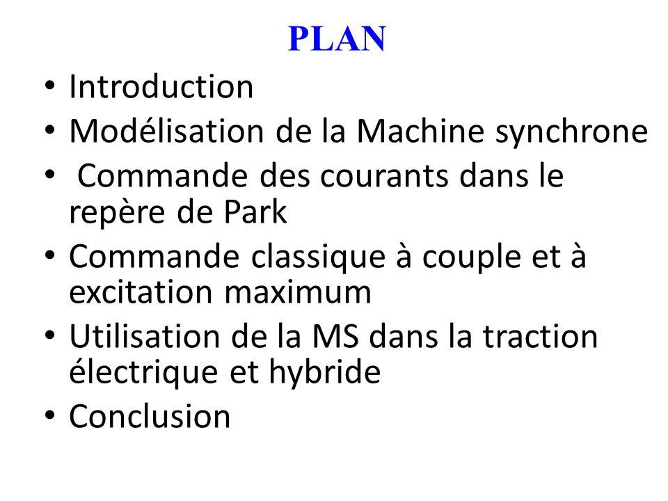 PLAN Introduction Modélisation de la Machine synchrone Commande des courants dans le repère de Park Commande classique à couple et à excitation maximu