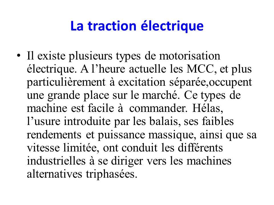La traction électrique Il existe plusieurs types de motorisation électrique. A lheure actuelle les MCC, et plus particulièrement à excitation séparée,