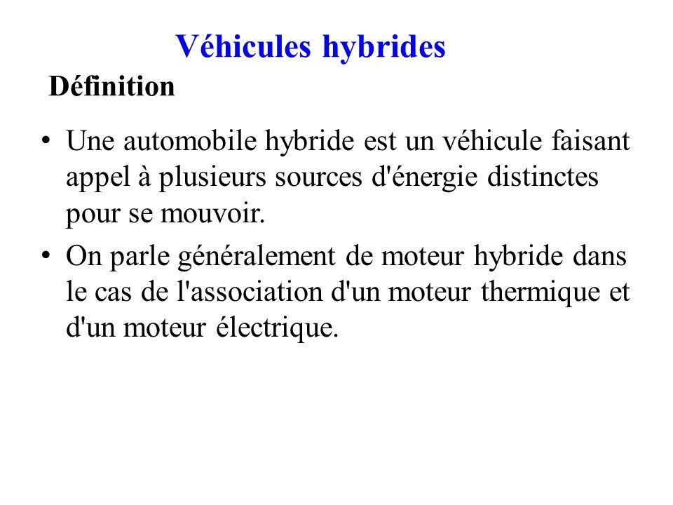 Véhicules hybrides Définition Une automobile hybride est un véhicule faisant appel à plusieurs sources d'énergie distinctes pour se mouvoir. On parle