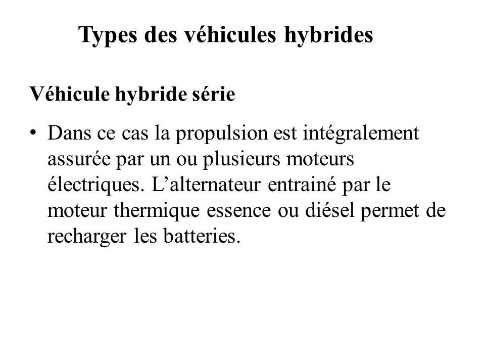 Types des véhicules hybrides Véhicule hybride série Dans ce cas la propulsion est intégralement assurée par un ou plusieurs moteurs électriques. Lalte