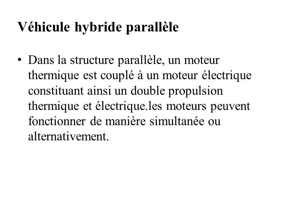 Véhicule hybride parallèle Dans la structure parallèle, un moteur thermique est couplé à un moteur électrique constituant ainsi un double propulsion t