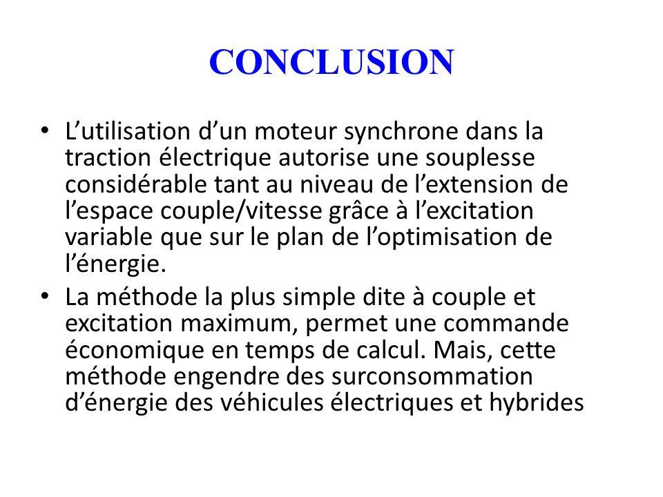 CONCLUSION Lutilisation dun moteur synchrone dans la traction électrique autorise une souplesse considérable tant au niveau de lextension de lespace c
