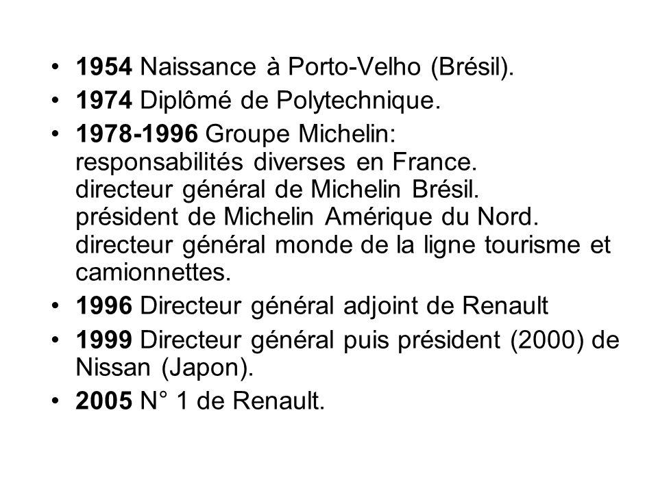 1954 Naissance à Porto-Velho (Brésil). 1974 Diplômé de Polytechnique. 1978-1996 Groupe Michelin: responsabilités diverses en France. directeur général