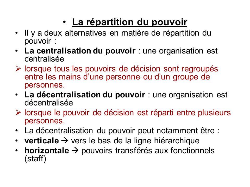 La répartition du pouvoir Il y a deux alternatives en matière de répartition du pouvoir : La centralisation du pouvoir : une organisation est centrali