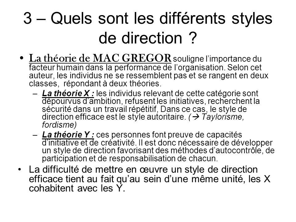 3 – Quels sont les différents styles de direction ? La théorie de MAC GREGOR souligne limportance du facteur humain dans la performance de lorganisati