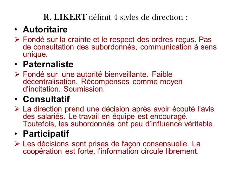 R. LIKERT définit 4 styles de direction : Autoritaire Fondé sur la crainte et le respect des ordres reçus. Pas de consultation des subordonnés, commun