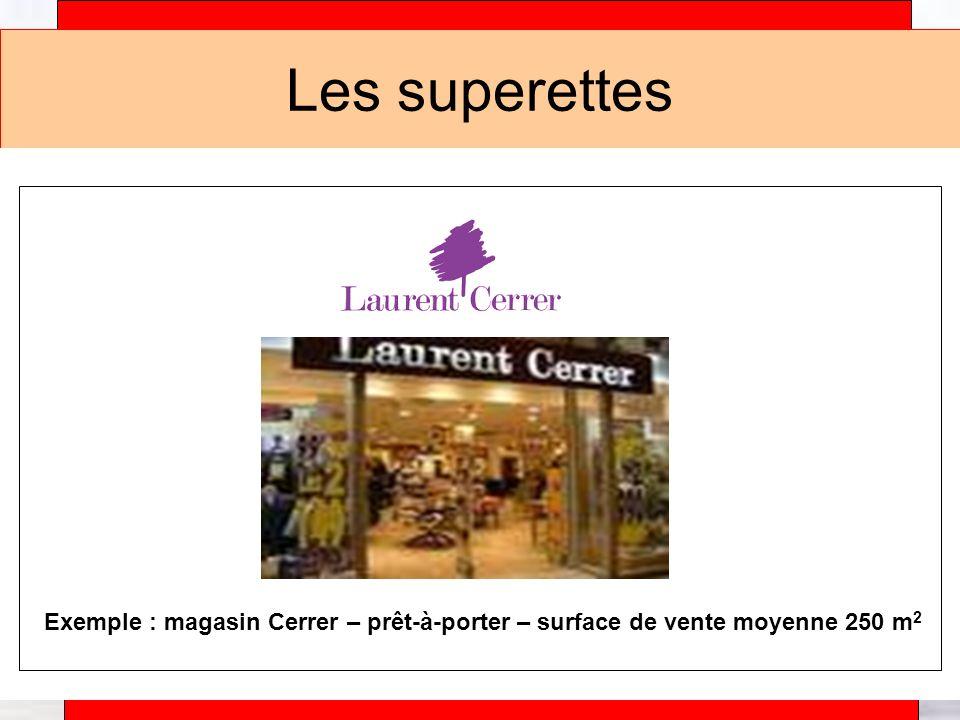 Alain Téfaine – 04/2004 Les superettes Exemple : magasin Cerrer – prêt-à-porter – surface de vente moyenne 250 m 2