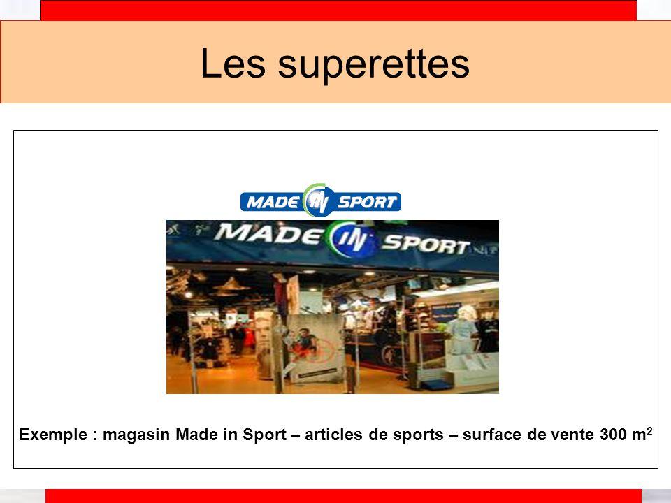 Alain Téfaine – 04/2004 Les superettes Exemple : magasin Made in Sport – articles de sports – surface de vente 300 m 2