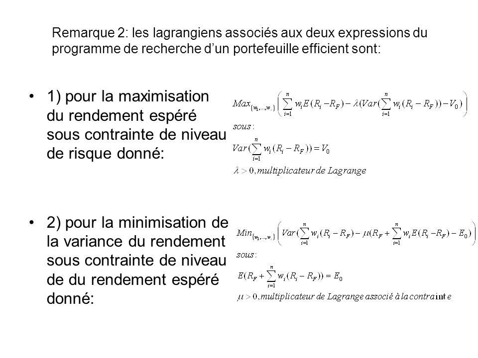 Remarque 2: les lagrangiens associés aux deux expressions du programme de recherche dun portefeuille efficient sont: 1) pour la maximisation du rendem